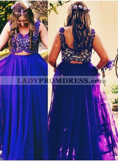 Prom Dresses Straps Lace Sleeveless A-Line/Princess Chiffon