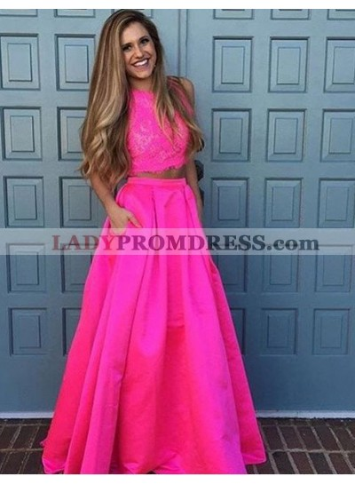 2020 Glamorous Pink Round Neck Sleeveless Lace Two Piece Prom Dresses