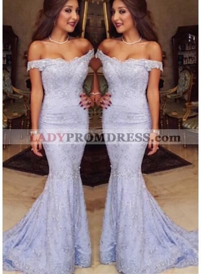 Off-the-Shoulder Appliques Sweep Train Mermaid/Trumpet Lavender Prom Dresses