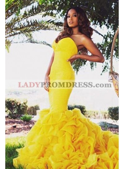 Sweetheart Sleeveless Natural Sweep Train Yellow Mermaid/Trumpet Prom Dresses