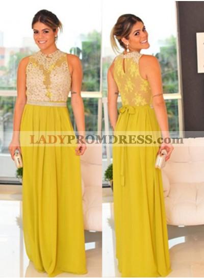Yellow Sleeveless Natural Appliques Floor-Length/Long A-Line/Princess Chiffon Prom Dresses
