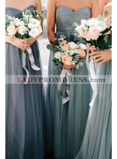 2021 New Arrival A Line Sweetheart Silver Tulle Long Bridesmaid Dresses / Gowns