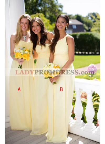 2021 Cheap A Line Chiffon Ruffles Yellow Long Bridesmaid Dresses / Gowns