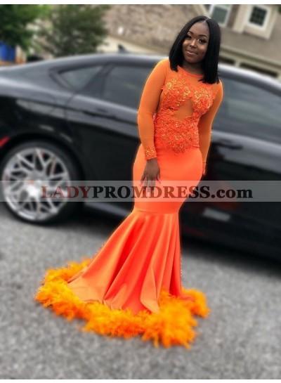 2021 Long Sleeves Orange Prom Dress