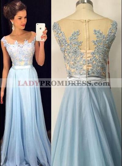 LadyPromDress 2021 Blue Appliques A-Line/Princess Chiffon Prom Dresses