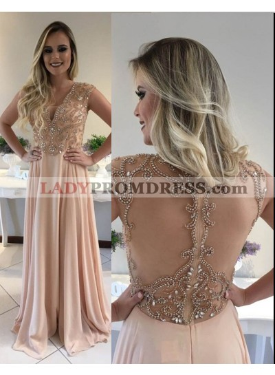 Pearl Pink Beading V-Neck A-Line/Princess Chiffon Prom Dresses