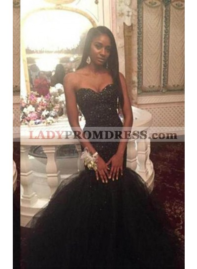 2019 Junoesque Black Floor-Length/Long Mermaid/Trumpet Sweetheart Organza Prom Dresses