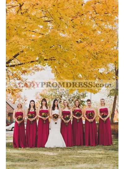 2021 Cheap A Line Strapless Chiffon Burgundy Long Bridesmaid Dresses / Gowns