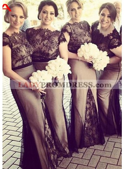 2021 New Arrival Mermaid Black Lace Bateau With Short Sleeves Long Bridesmaid Dresses / Gowns