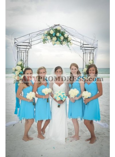 2021 Cheap A Line Chiffon Knee Length Turquoise Bridesmaid Dresses / Gowns