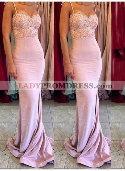 2021 New Arrival Mermaid Satin Pink Spaghetti Straps Sweetheart Long Bridesmaid Dresses / Gowns