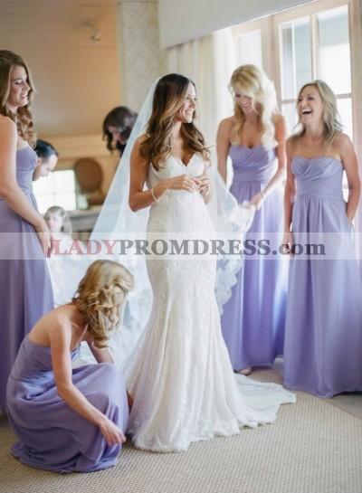 2021 Cheap A Line Lavender Chiffon Sweetheart Ruffles Long Bridesmaid Dresses / Gowns