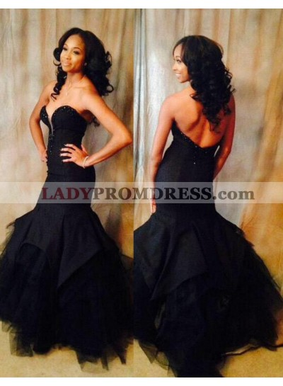 2020 Junoesque Black Sweetheart Natural Backless Mermaid/Trumpet Tulle Prom Dresses