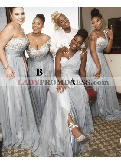 One Shoulder A Line Chiffon Floor Length Bridesmaid Dresses