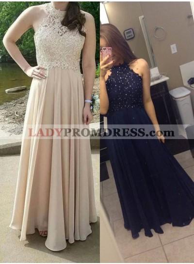 Beading Champagne Halter A-Line/Princess Chiffon Prom Dresses