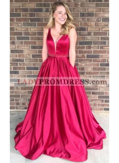 2021 Elegant Princess/A-Line Satin Red Prom Dresses