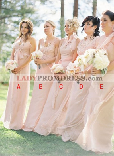 2021 Cheap A Line Blushing Pink Strapless Chiffon Floor Length Bridesmaid Dresses / Gowns