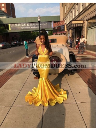 2020 Gorgeous Gold V-neck Mermaid Prom Dresses