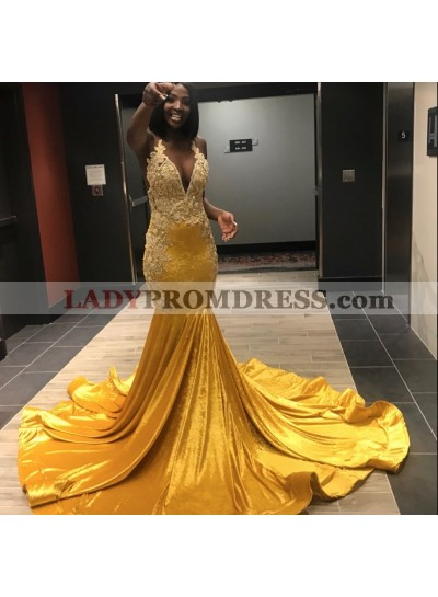 2020 Yellow Halter Sexy Mermaid Prom Dresses
