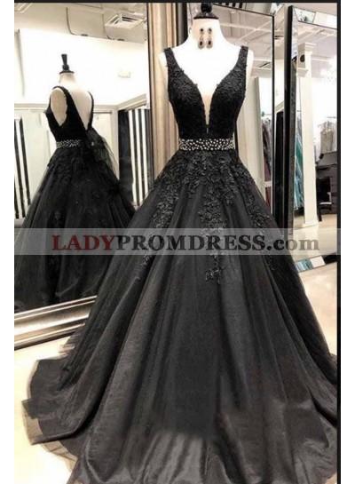 2021 Cheap Black V-neck Beaded Tulle Prom Dresses