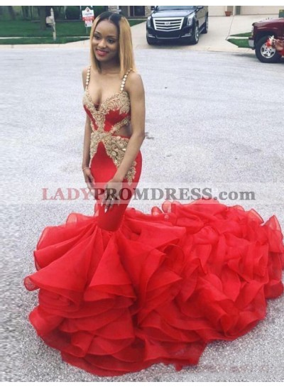 2021 Red Mermaid V-neck Prom Dresses
