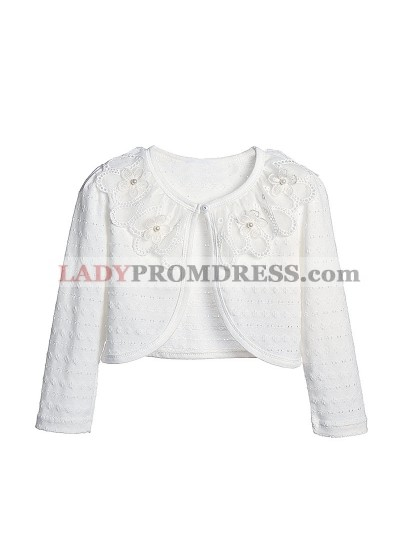 Cute Cotton Pearls Girl's Wrap Outdoor Wrap White Lace Long Sleeves First Communion Wrap