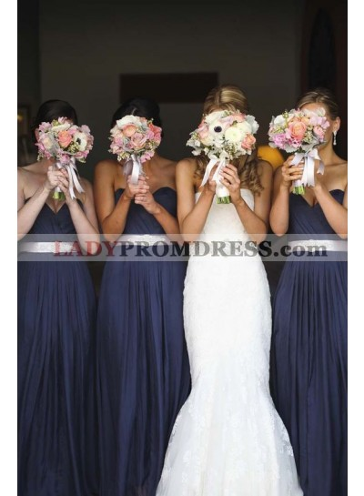 2021 Newly A Line Navy Blue Chiffon Strapless Long Bridesmaid Dresses / Gowns