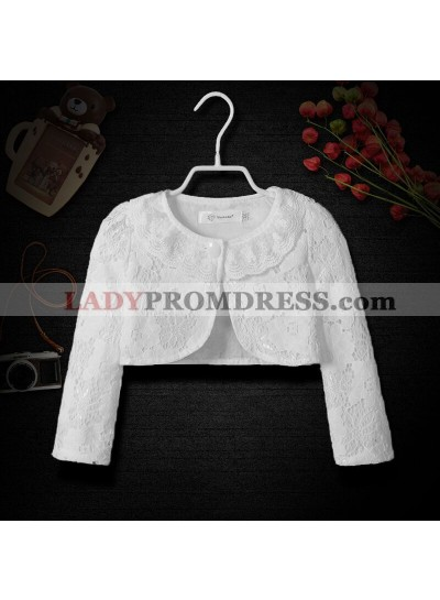 Cute Cotton Girl's Wrap Outdoor Wrap White Lace Long Sleeves First Communion Wrap