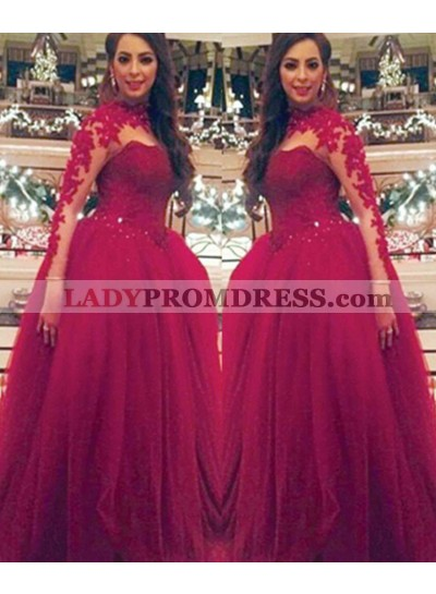 Long Sleeve Ball Gown Natural Appliques Tulle Burgundy Prom Dresses