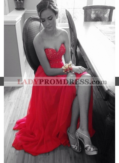 2018 Gorgeous Red Beading Sweetheart A-Line/Princess Chiffon Prom Dresses