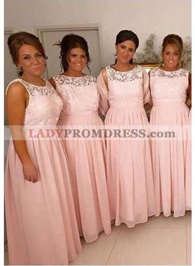 2021 Cheap A Line Pink Chiffon Bateau Lace Long Bridesmaid Dresses / Gowns