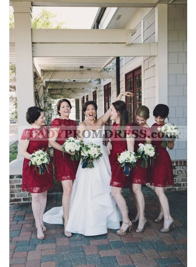 2021 New Arrival A Line Burgundy Lace Knee Length Cheap Bridesmaid Dresses / Gowns