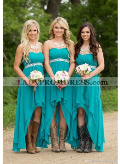 2021 New Arrival A Line Chiffon Teal High Low Short Bridesmaid Dresses / Gowns