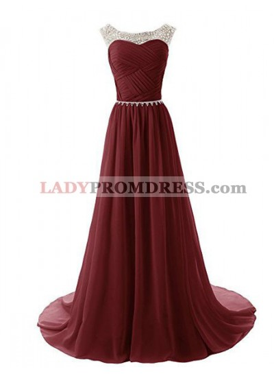 2018 Gorgeous Red Crystal Ruching Chiffon Prom Dresses