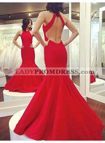 2018 Gorgeous Red Halter Backless Mermaid/Trumpet Prom Dresses