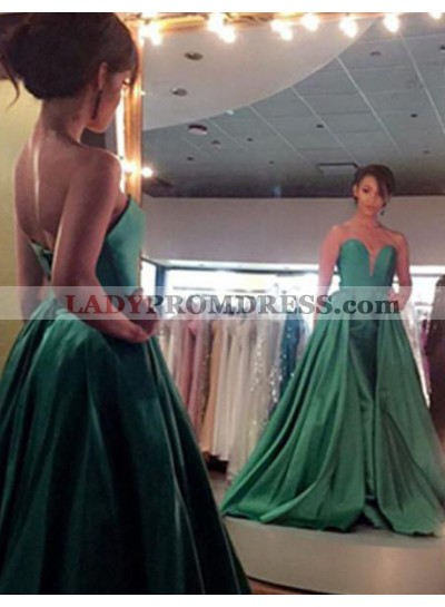 Sexy Sweetheart Pleated Satin Green Prom Dresses