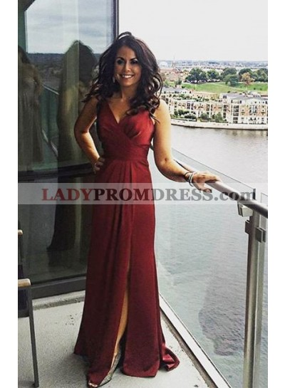 Burgundy V-Neck Split Front Ruching Sweep Train Prom Dresses