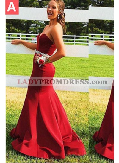 2019 Gorgeous Red Sweetheart Crystal Waist Satin Prom Dresses