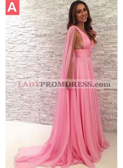 Watteau Train Empire Waist Chiffon 2019 Glamorous Pink Prom Dresses