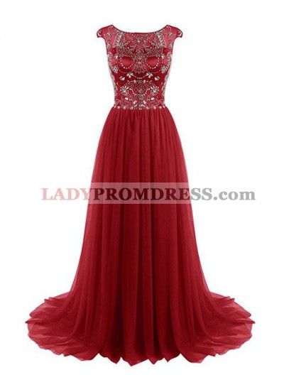 2018 Gorgeous Red Crystal Capped Sleeves Sweep Train Chiffon Prom Dresses