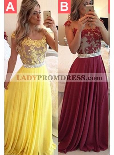 Beading Appliques A-Line/Princess Chiffon 2021 Unique White Prom Dresses