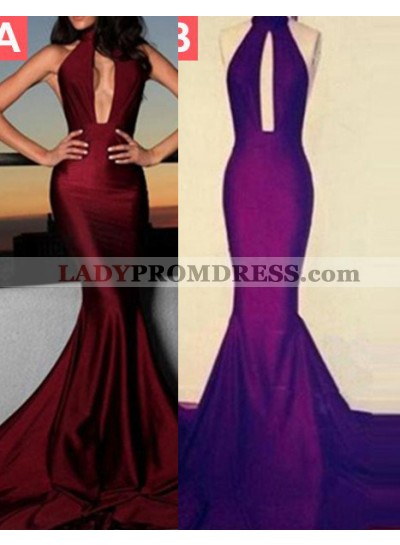 Floor-Length/Long Halter Mermaid/Trumpet Taffeta Burgundy Prom Dresses