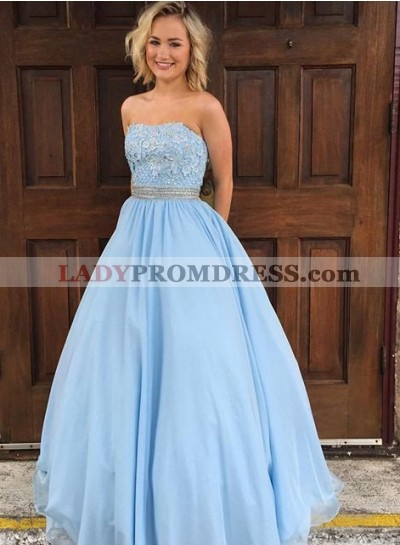 LadyPromDress 2019 Blue Appliques Strapless Ball Gown Tulle Prom Dresses