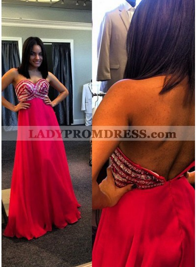 2018 Gorgeous Red Crystal Backless Detailing A-Line/Princess Chiffon Prom Dresses