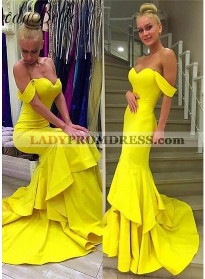 Layers Off-the-Shoulder Mermaid/Trumpet Satin Prom Dresses Yellow