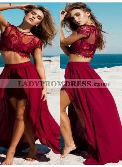 Burgundy Lace High-Low A-Line/Princess Chiffon Two Pieces Prom Dresses