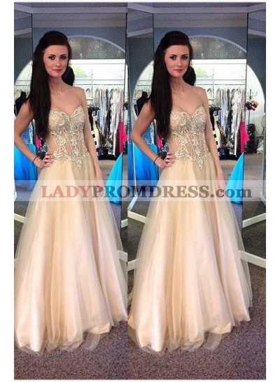 Sweetheart Floor-Length/Long A-Line/Princess Tulle Prom Dresses