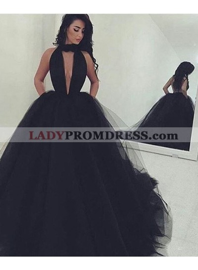 2019 Junoesque Black Gorgeous Deep V-Neck Ball Gown Tulle Prom Dresses