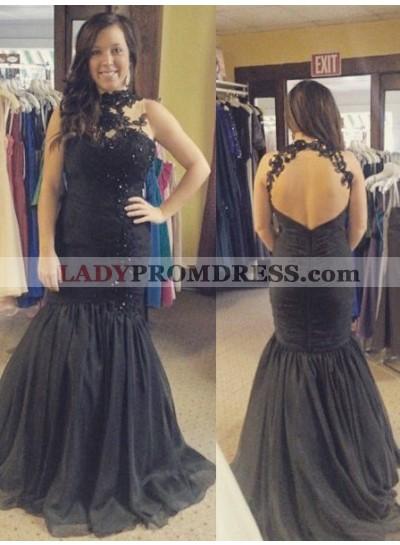 Prom Dresses 2019 Junoesque Black Sleeveless Appliques Mermaid/Trumpet