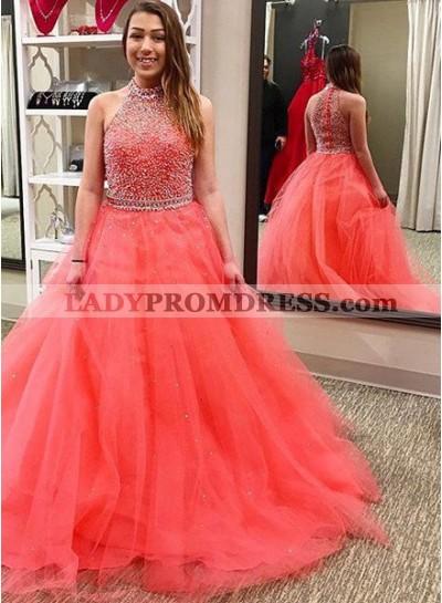 Beading Halter Tulle Prom Dresses